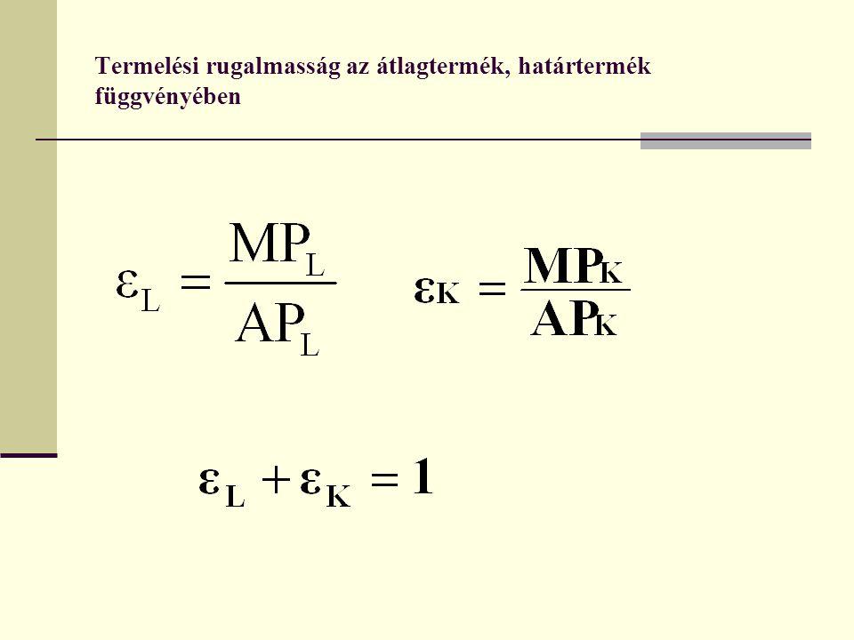 Az optimális tényezőkombináció meghatározása hosszú távon Az optimális inputkombináció meghatározható az isoquant görbék és az isocost egyenes segítségével; Egy vállalat adott mennyiségű kibocsátásának legkisebb költségű változatát az a tényező kombináció jelenti, amelyet az isoquant görbe és az azt érintő isocost egyenes közös pontja képvisel; Optimális inputfelhasználás feltétele hosszú távon: