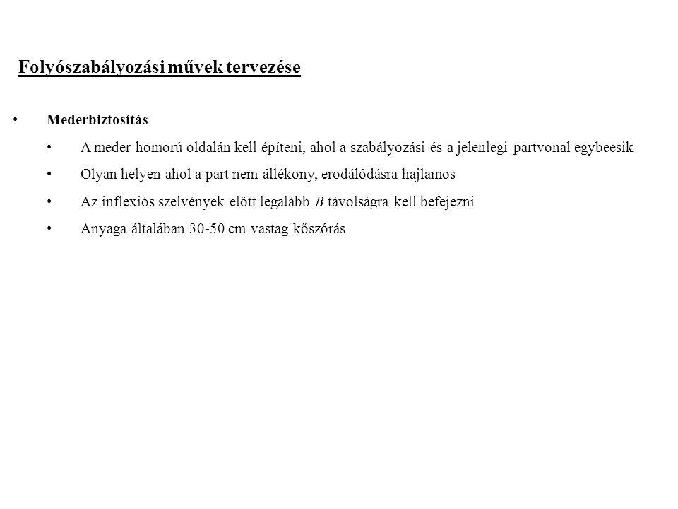 2014. 09. 13.12 Folyószabályozási művek tervezése Mederbiztosítás A meder homorú oldalán kell építeni, ahol a szabályozási és a jelenlegi partvonal eg
