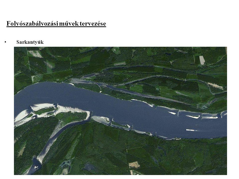 2014. 09. 13.19 Folyószabályozási művek tervezése Sarkantyúk Ha a szabályozási vonal a mederbe kerül a domború oldalon Tengelyvonaluk a parttal 5-10°-