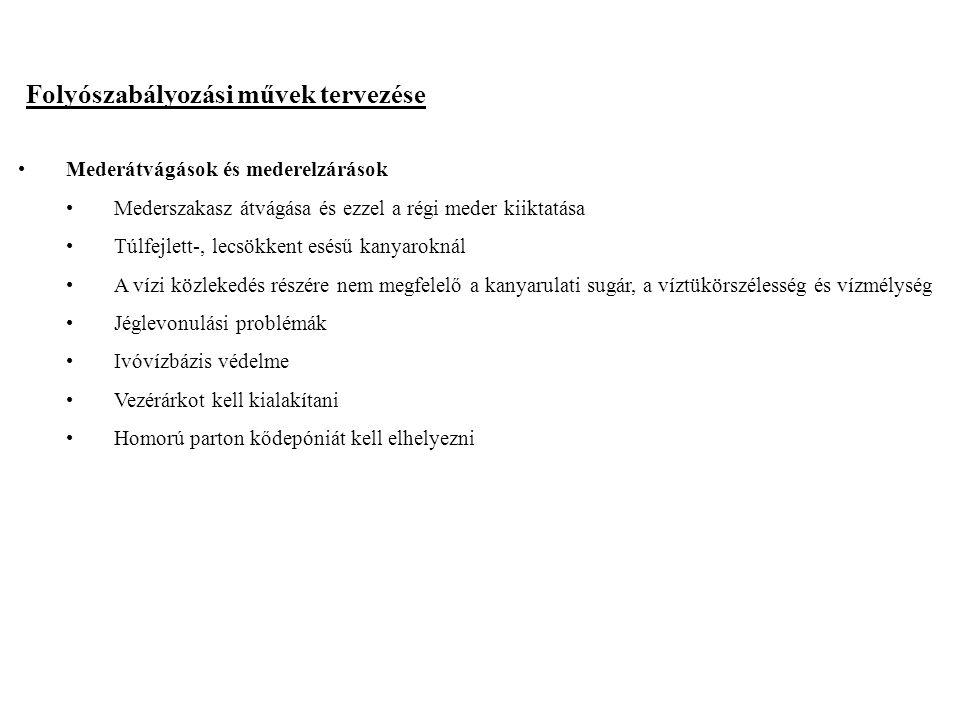 2014. 09. 13.20 Folyószabályozási művek tervezése Mederátvágások és mederelzárások Mederszakasz átvágása és ezzel a régi meder kiiktatása Túlfejlett-,