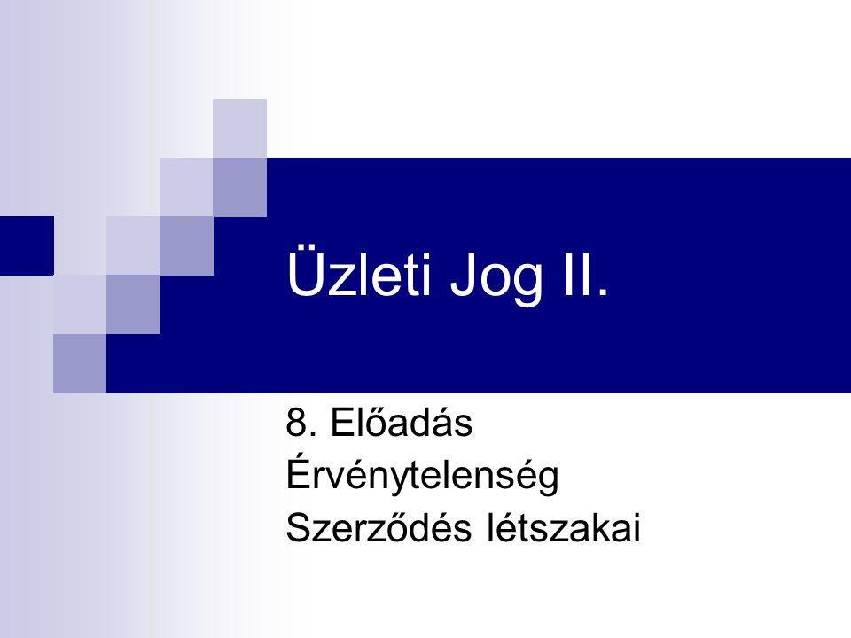 Üzleti Jog II. 8. Előadás Érvénytelenség Szerződés létszakai