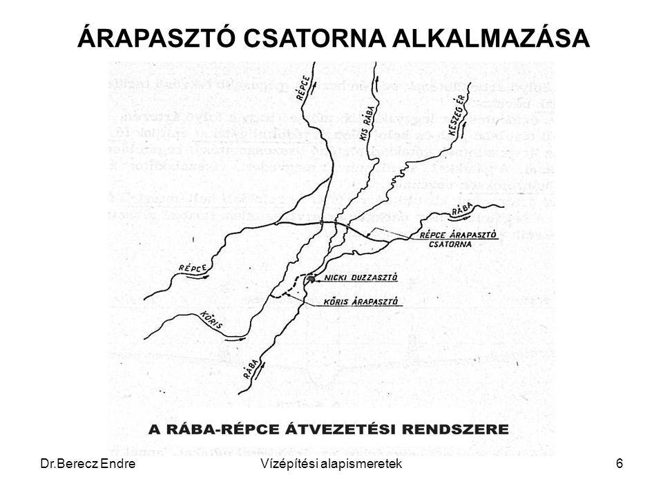 Dr.Berecz EndreVízépítési alapismeretek6 ÁRAPASZTÓ CSATORNA ALKALMAZÁSA