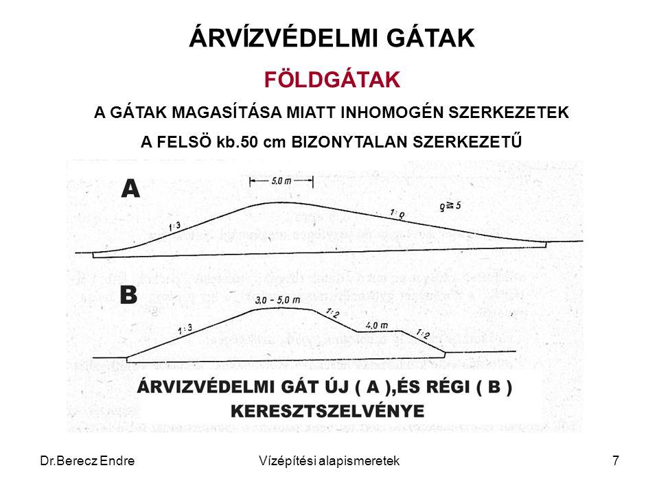 Dr.Berecz EndreVízépítési alapismeretek7 ÁRVÍZVÉDELMI GÁTAK FÖLDGÁTAK A GÁTAK MAGASÍTÁSA MIATT INHOMOGÉN SZERKEZETEK A FELSÖ kb.50 cm BIZONYTALAN SZER