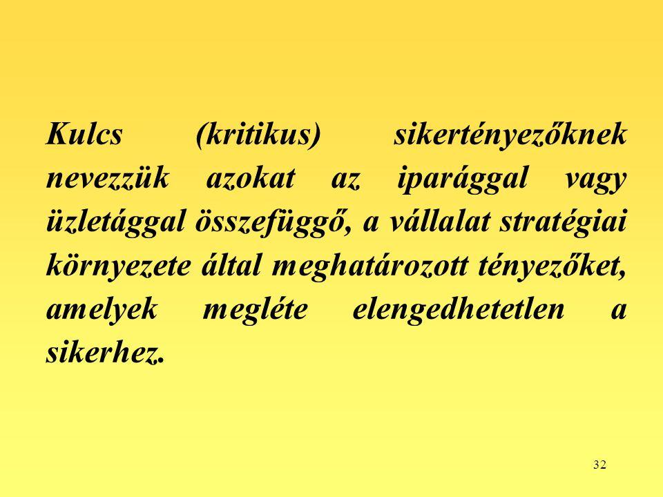 32 Kulcs (kritikus) sikertényezőknek nevezzük azokat az iparággal vagy üzletággal összefüggő, a vállalat stratégiai környezete által meghatározott tén