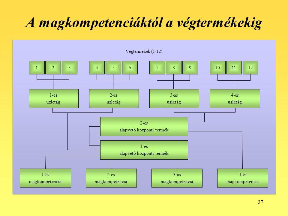 37 A magkompetenciáktól a végtermékekig 1-es alapvető központi termék 2-es alapvető központi termék 1-es magkompetencia 2-es magkompetencia 3-as magko