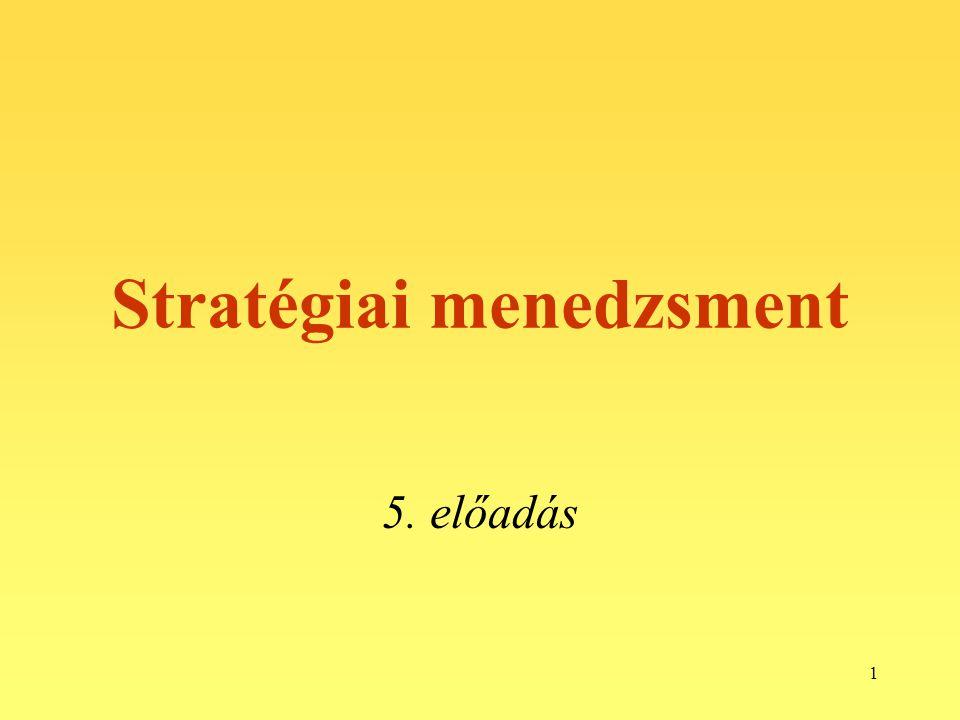 1 Stratégiai menedzsment 5. előadás