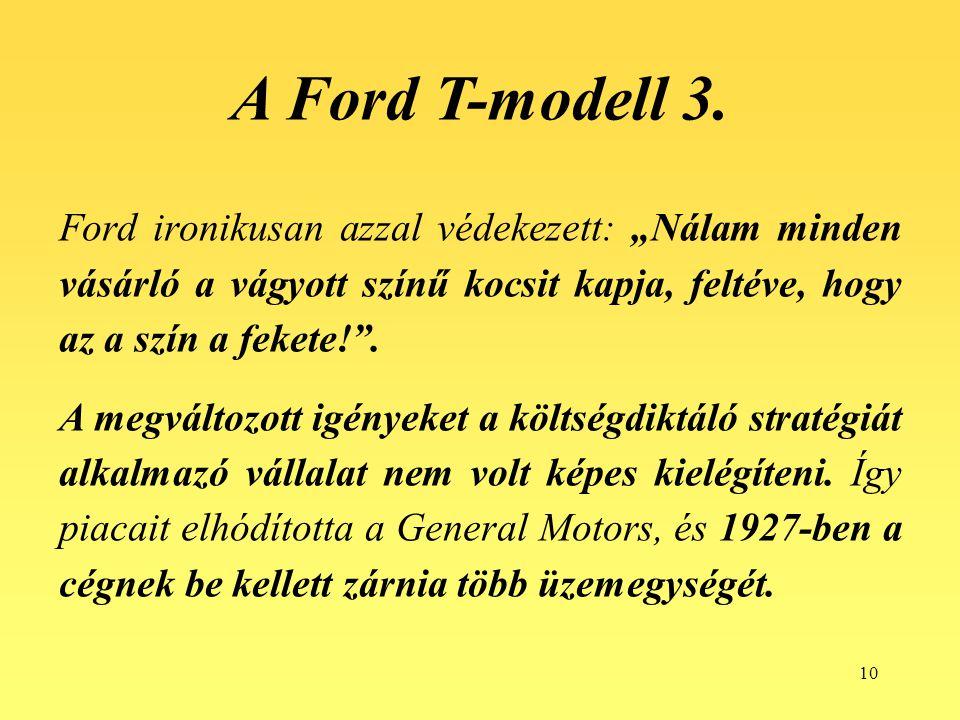 """10 Ford ironikusan azzal védekezett: """"Nálam minden vásárló a vágyott színű kocsit kapja, feltéve, hogy az a szín a fekete!"""". A megváltozott igényeket"""
