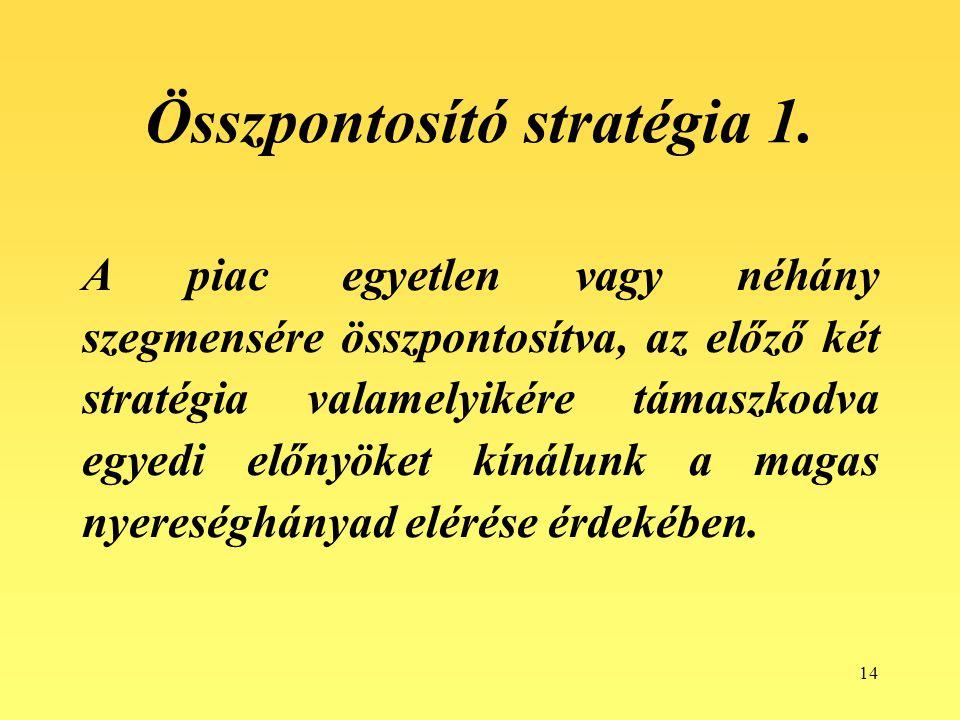 14 Összpontosító stratégia 1. A piac egyetlen vagy néhány szegmensére összpontosítva, az előző két stratégia valamelyikére támaszkodva egyedi előnyöke