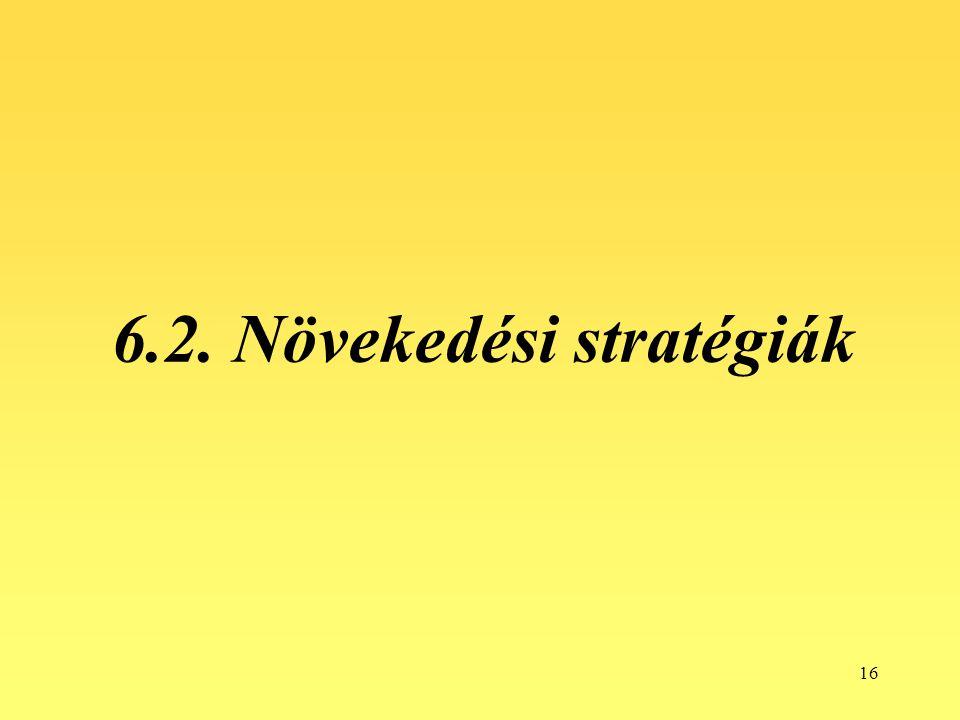 16 6.2. Növekedési stratégiák