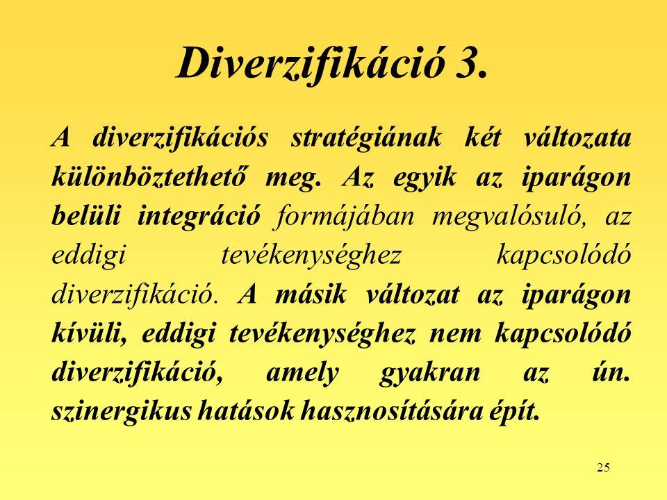 25 A diverzifikációs stratégiának két változata különböztethető meg. Az egyik az iparágon belüli integráció formájában megvalósuló, az eddigi tevékeny