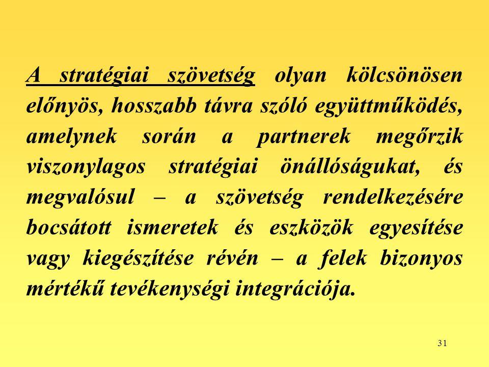 31 A stratégiai szövetség olyan kölcsönösen előnyös, hosszabb távra szóló együttműködés, amelynek során a partnerek megőrzik viszonylagos stratégiai ö