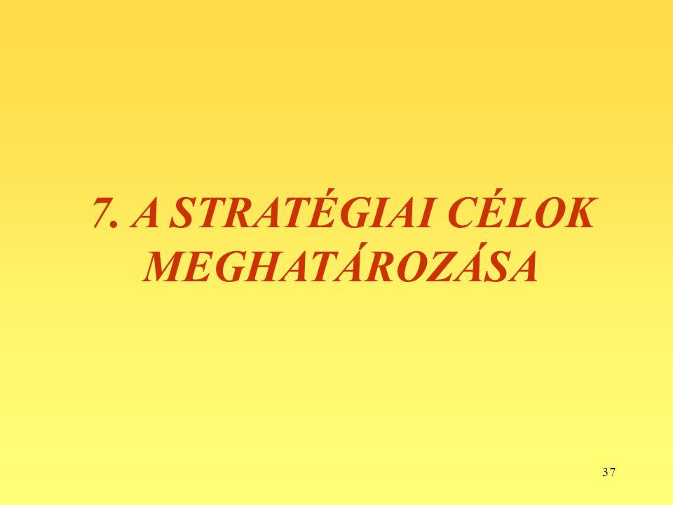 37 7. A STRATÉGIAI CÉLOK MEGHATÁROZÁSA