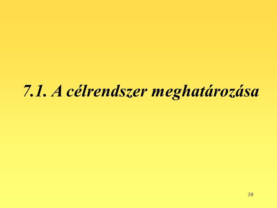38 7.1. A célrendszer meghatározása