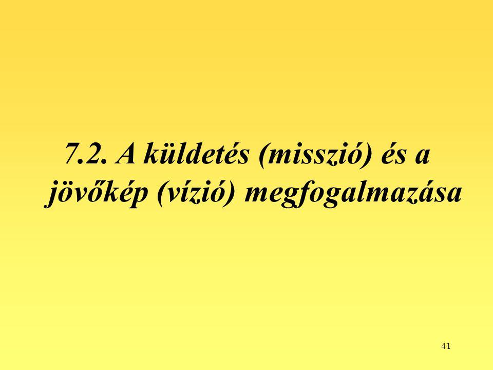 41 7.2. A küldetés (misszió) és a jövőkép (vízió) megfogalmazása