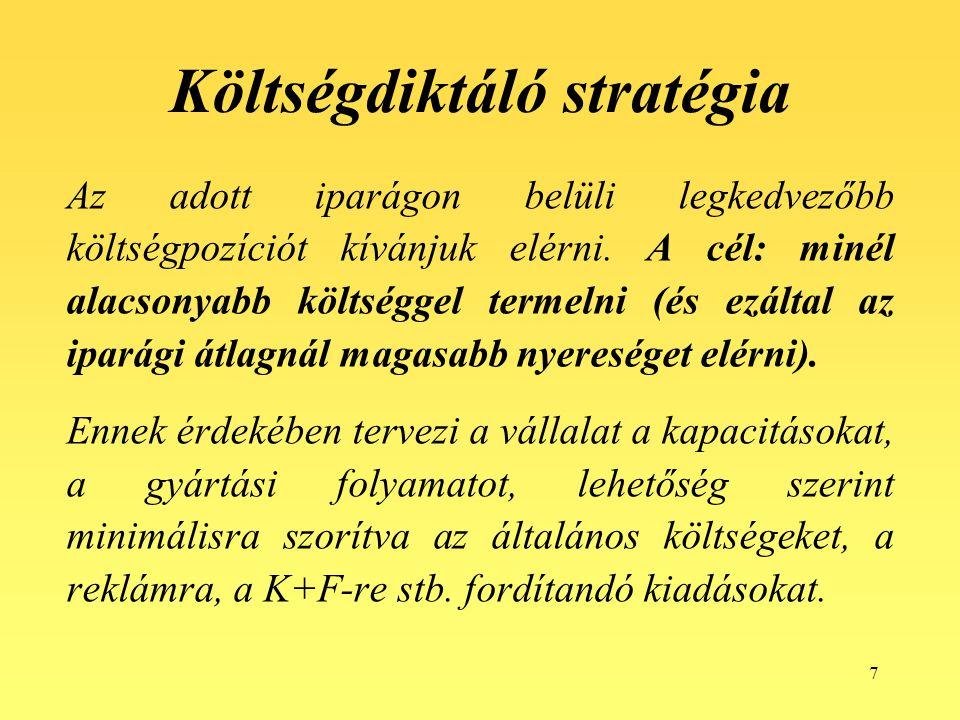 7 Költségdiktáló stratégia Az adott iparágon belüli legkedvezőbb költségpozíciót kívánjuk elérni. A cél: minél alacsonyabb költséggel termelni (és ezá
