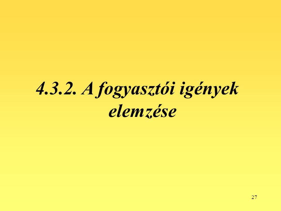 27 4.3.2. A fogyasztói igények elemzése