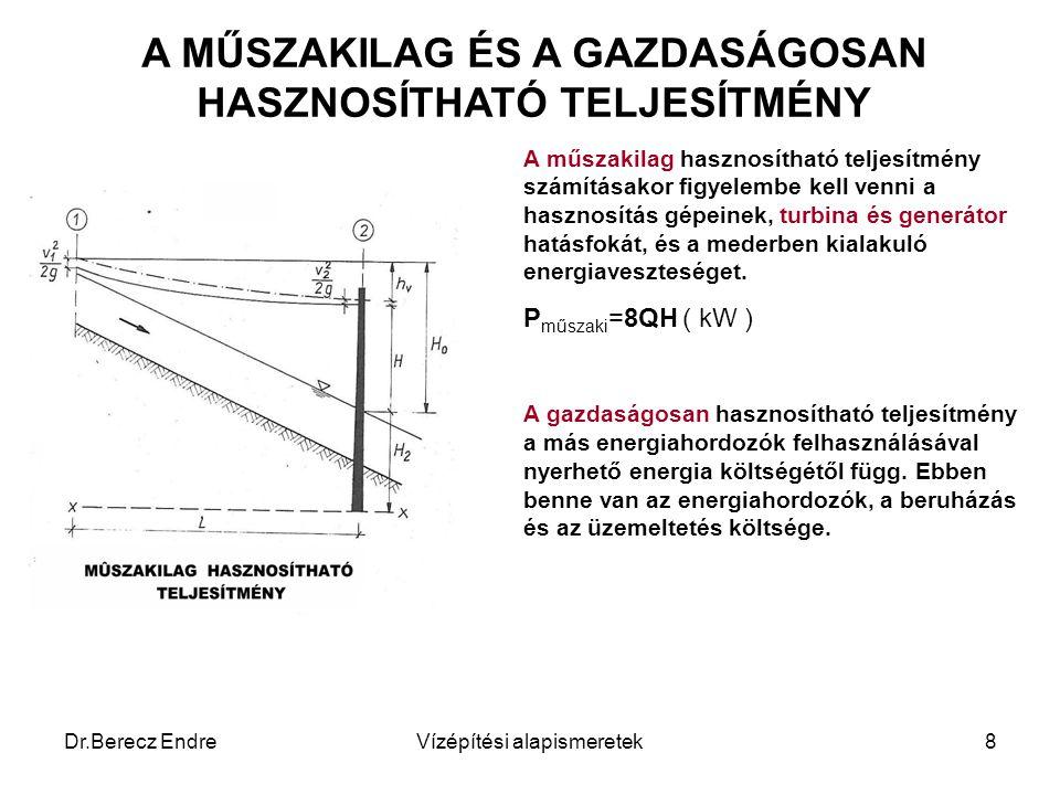 Dr.Berecz EndreVízépítési alapismeretek8 A MŰSZAKILAG ÉS A GAZDASÁGOSAN HASZNOSÍTHATÓ TELJESÍTMÉNY A műszakilag hasznosítható teljesítmény számításako