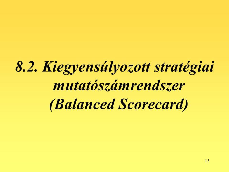 13 8.2. Kiegyensúlyozott stratégiai mutatószámrendszer (Balanced Scorecard)