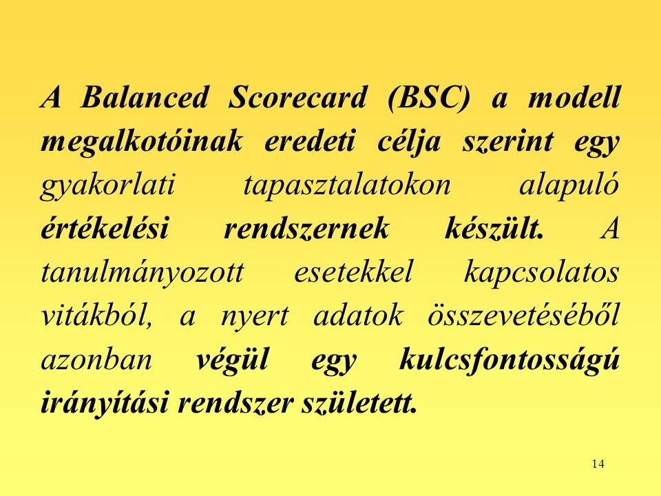 14 A Balanced Scorecard (BSC) a modell megalkotóinak eredeti célja szerint egy gyakorlati tapasztalatokon alapuló értékelési rendszernek készült. A ta