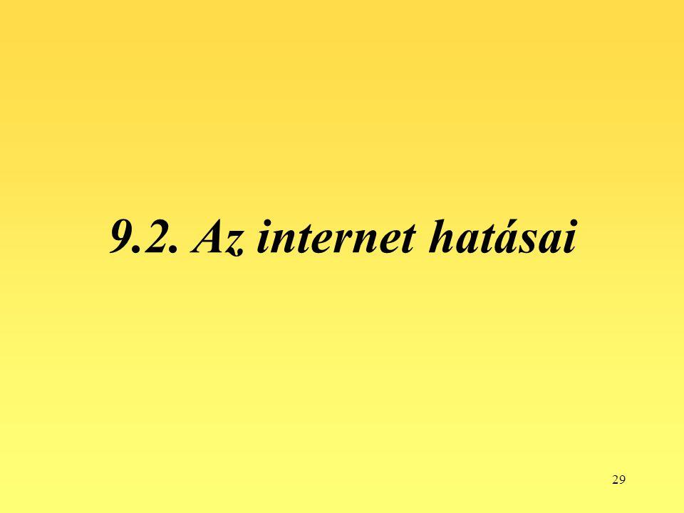 29 9.2. Az internet hatásai