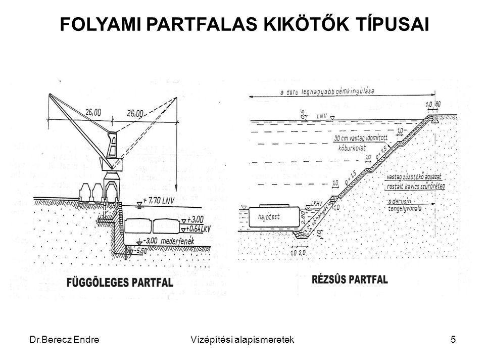 Dr.Berecz EndreVízépítési alapismeretek5 FOLYAMI PARTFALAS KIKÖTŐK TÍPUSAI