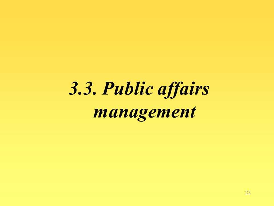 22 3.3. Public affairs management