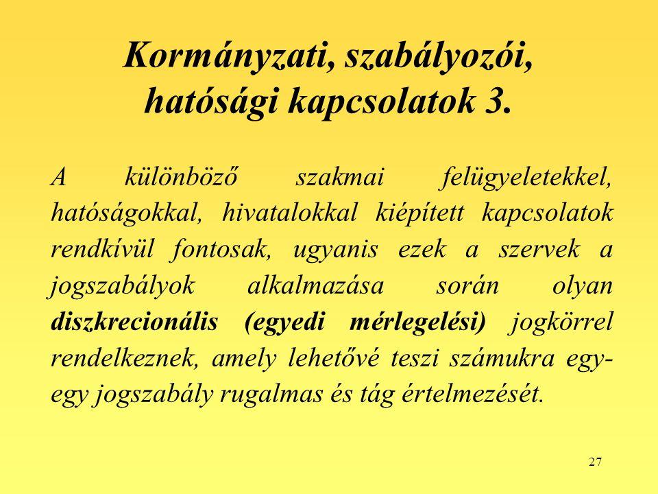 27 Kormányzati, szabályozói, hatósági kapcsolatok 3.