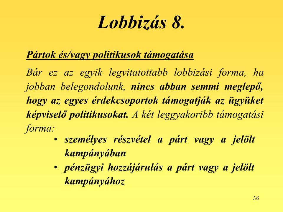36 Lobbizás 8. Pártok és/vagy politikusok támogatása Bár ez az egyik legvitatottabb lobbizási forma, ha jobban belegondolunk, nincs abban semmi meglep