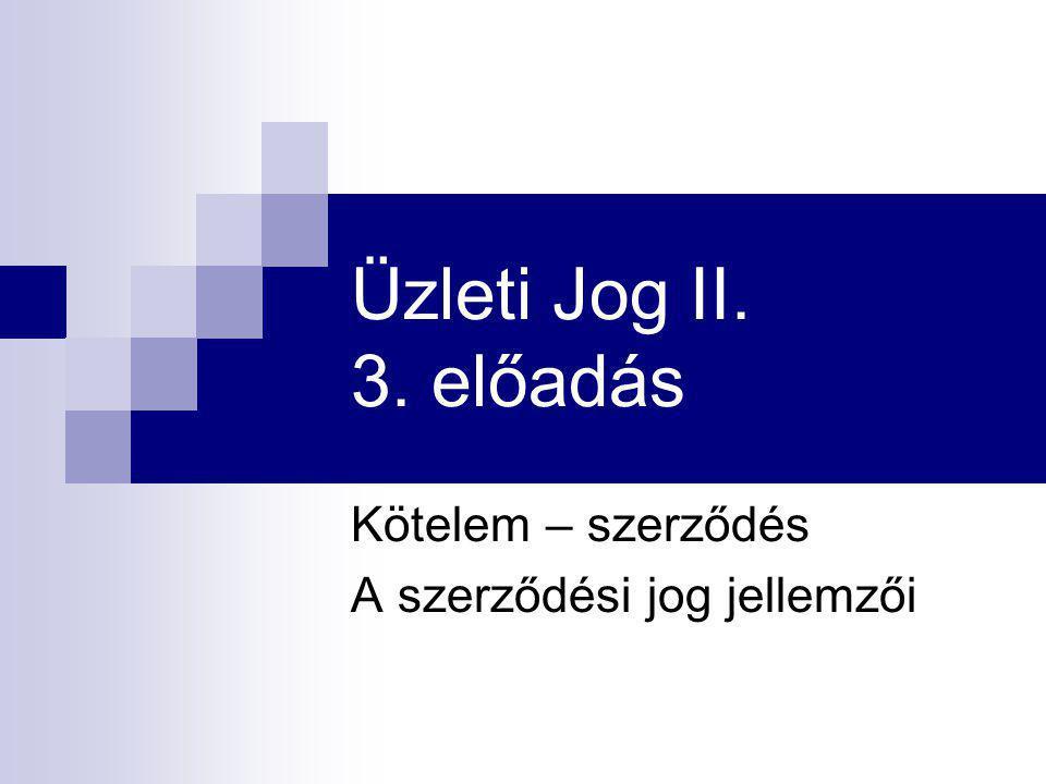 Üzleti Jog II. 3. előadás Kötelem – szerződés A szerződési jog jellemzői