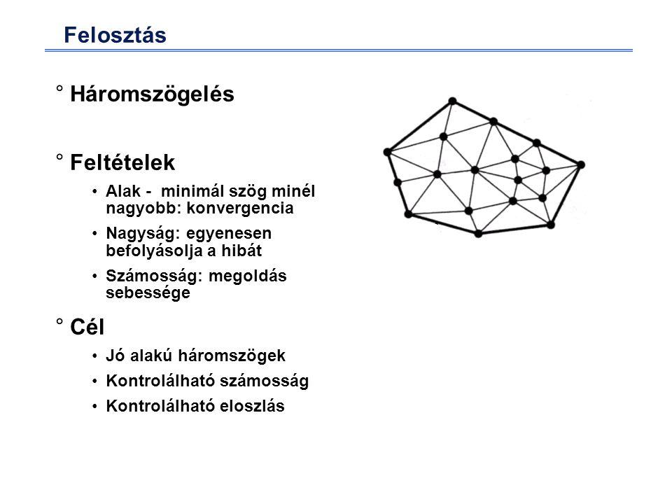 Felosztás °Háromszögelés °Feltételek Alak - minimál szög minél nagyobb: konvergencia Nagyság: egyenesen befolyásolja a hibát Számosság: megoldás sebessége °Cél Jó alakú háromszögek Kontrolálható számosság Kontrolálható eloszlás
