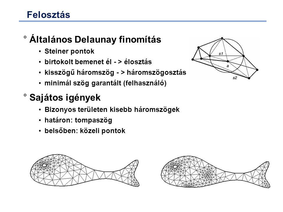 Felosztás °Általános Delaunay finomítás Steiner pontok birtokolt bemenet él - > élosztás kisszögű háromszög - > háromszögosztás minimál szög garantált (felhasználó) °Sajátos igények Bizonyos területen kisebb háromszögek határon: tompaszög belsőben: közeli pontok