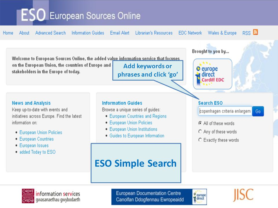 Add keywords or phrases and click 'go' ESO Simple Search