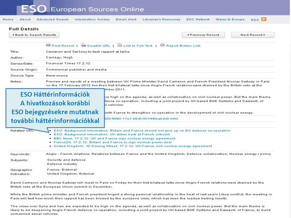 ESO Háttérinformációk A hivatkozások korábbi ESO bejegyzésekre mutatnak további háttérinformációkkal