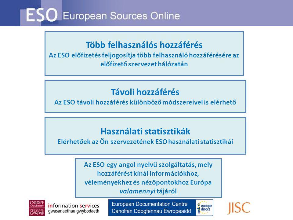 Távoli hozzáférés Az ESO távoli hozzáférés különböző módszereivel is elérhető Több felhasználós hozzáférés Az ESO előfizetés feljogosítja több felhasz