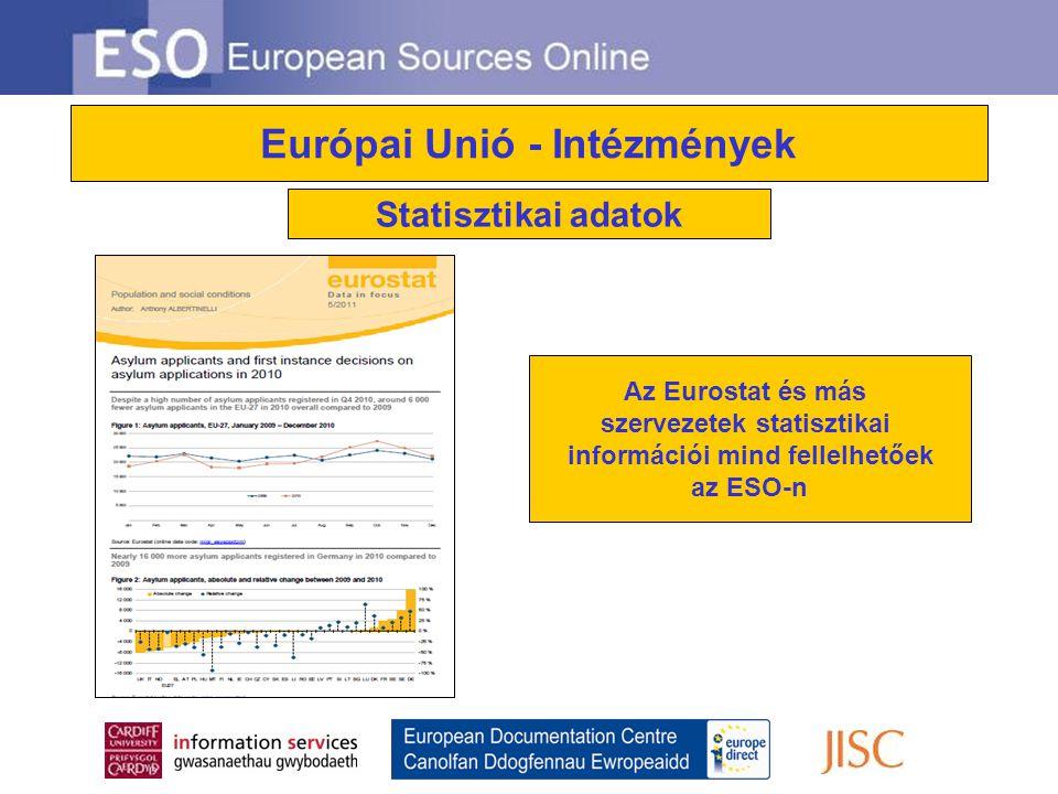 Európai Unió - Intézmények Statisztikai adatok Az Eurostat és más szervezetek statisztikai információi mind fellelhetőek az ESO-n