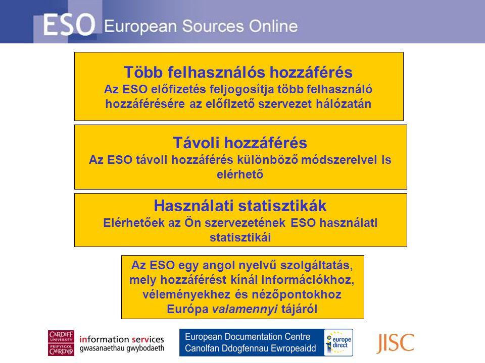 Távoli hozzáférés Az ESO távoli hozzáférés különböző módszereivel is elérhető Több felhasználós hozzáférés Az ESO előfizetés feljogosítja több felhasználó hozzáférésére az előfizető szervezet hálózatán Használati statisztikák Elérhetőek az Ön szervezetének ESO használati statisztikái Az ESO egy angol nyelvű szolgáltatás, mely hozzáférést kínál információkhoz, véleményekhez és nézőpontokhoz Európa valamennyi tájáról