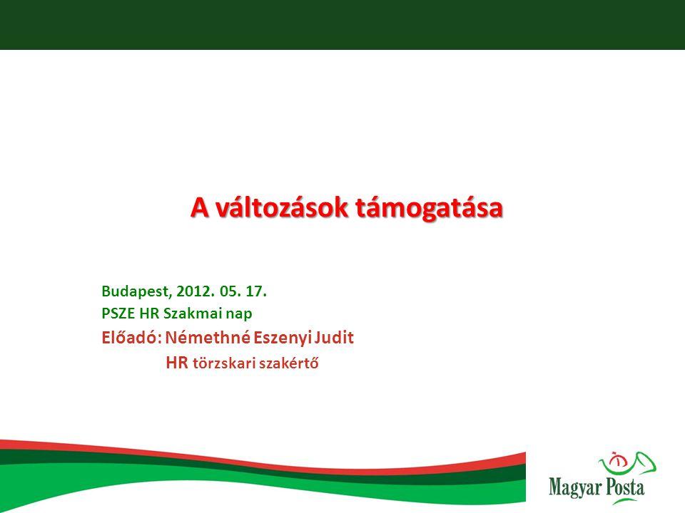 A változások támogatása Budapest, 2012. 05. 17. PSZE HR Szakmai nap Előadó: Némethné Eszenyi Judit HR törzskari szakértő