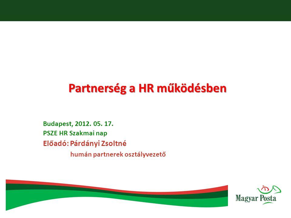 Partnerség a HR működésben Budapest, 2012. 05. 17. PSZE HR Szakmai nap Előadó: Párdányi Zsoltné humán partnerek osztályvezető