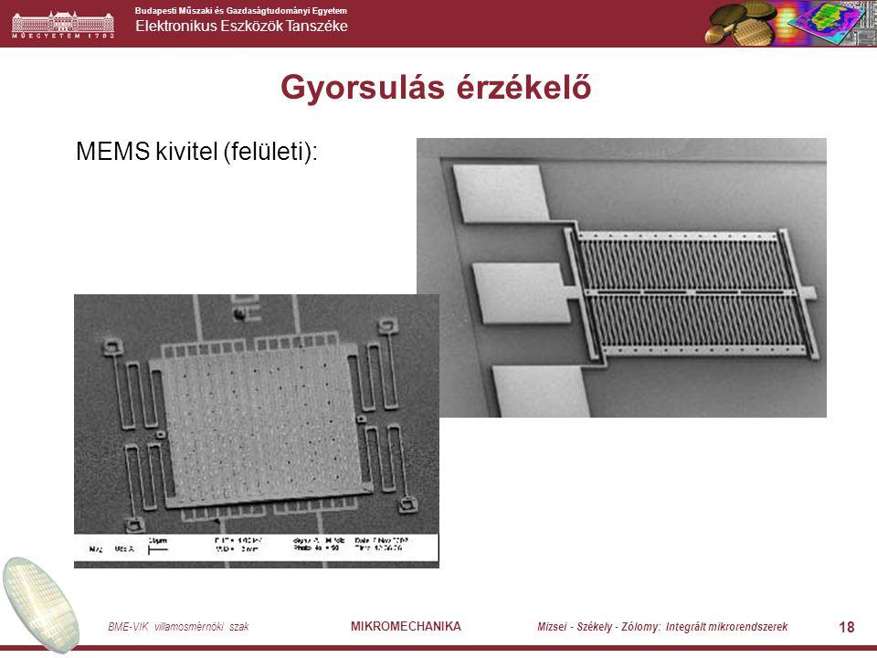 Budapesti Műszaki és Gazdaságtudományi Egyetem Elektronikus Eszközök Tanszéke BME-VIK villamosmérnöki szak MIKROMECHANIKA Mizsei - Székely - Zólomy: Integrált mikrorendszerek 18 Gyorsulás érzékelő MEMS kivitel (felületi):