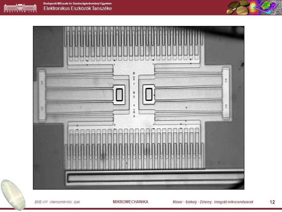 Budapesti Műszaki és Gazdaságtudományi Egyetem Elektronikus Eszközök Tanszéke BME-VIK villamosmérnöki szak MIKROMECHANIKA Mizsei - Székely - Zólomy: Integrált mikrorendszerek 12
