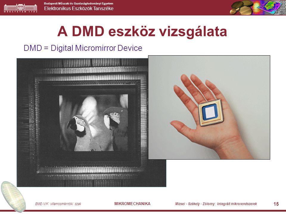 Budapesti Műszaki és Gazdaságtudományi Egyetem Elektronikus Eszközök Tanszéke BME-VIK villamosmérnöki szak MIKROMECHANIKA Mizsei - Székely - Zólomy: Integrált mikrorendszerek 15 A DMD eszköz vizsgálata DMD = Digital Micromirror Device