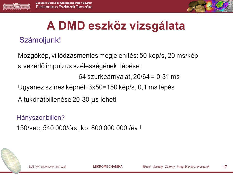 Budapesti Műszaki és Gazdaságtudományi Egyetem Elektronikus Eszközök Tanszéke BME-VIK villamosmérnöki szak MIKROMECHANIKA Mizsei - Székely - Zólomy: Integrált mikrorendszerek 17 A DMD eszköz vizsgálata Számoljunk.