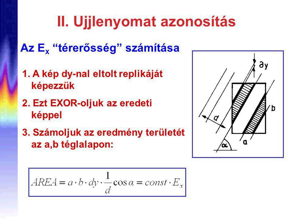 II. Ujjlenyomat azonosítás Az E x térerősség számítása 1.