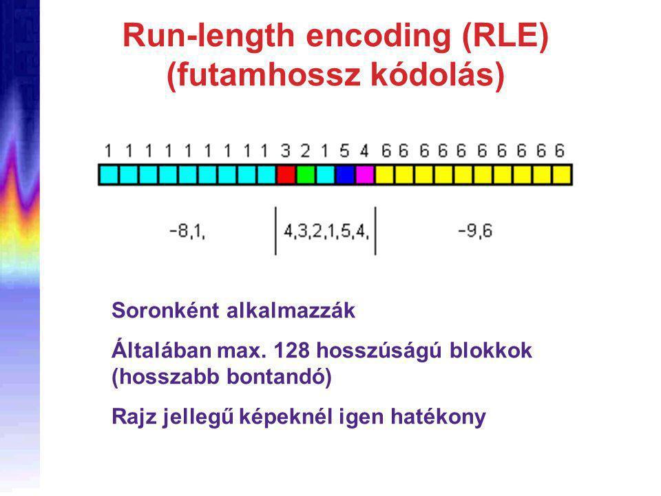 Run-length encoding (RLE) (futamhossz kódolás) Soronként alkalmazzák Általában max.