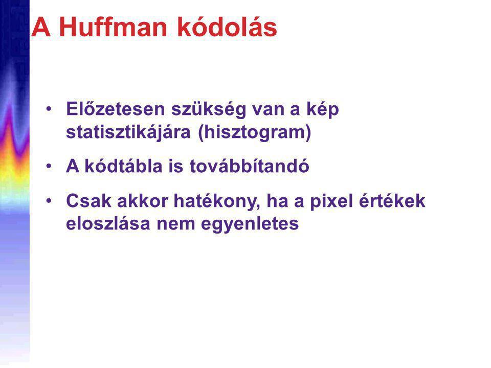 A Huffman kódolás Előzetesen szükség van a kép statisztikájára (hisztogram) A kódtábla is továbbítandó Csak akkor hatékony, ha a pixel értékek eloszlása nem egyenletes