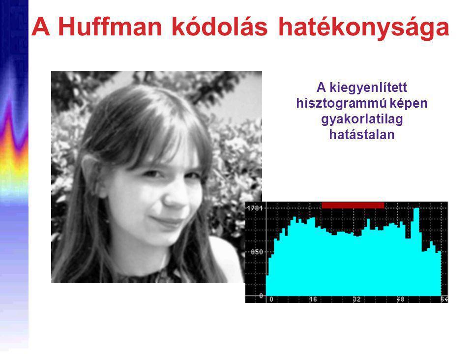 A Huffman kódolás hatékonysága A kiegyenlített hisztogrammú képen gyakorlatilag hatástalan