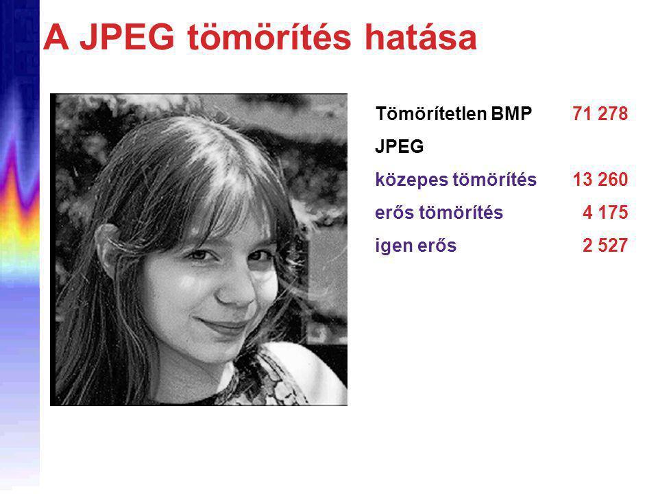 A JPEG tömörítés hatása Tömörítetlen BMP71 278 JPEG közepes tömörítés13 260 erős tömörítés 4 175 igen erős 2 527