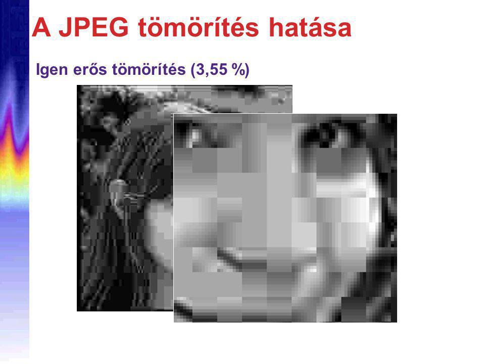 Igen erős tömörítés (3,55 %) A JPEG tömörítés hatása