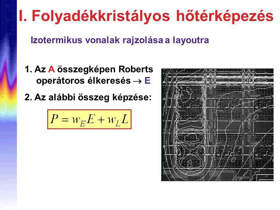 Izotermikus vonalak rajzolása a layoutra 1. Az A összegképen Roberts operátoros élkeresés  E 2.