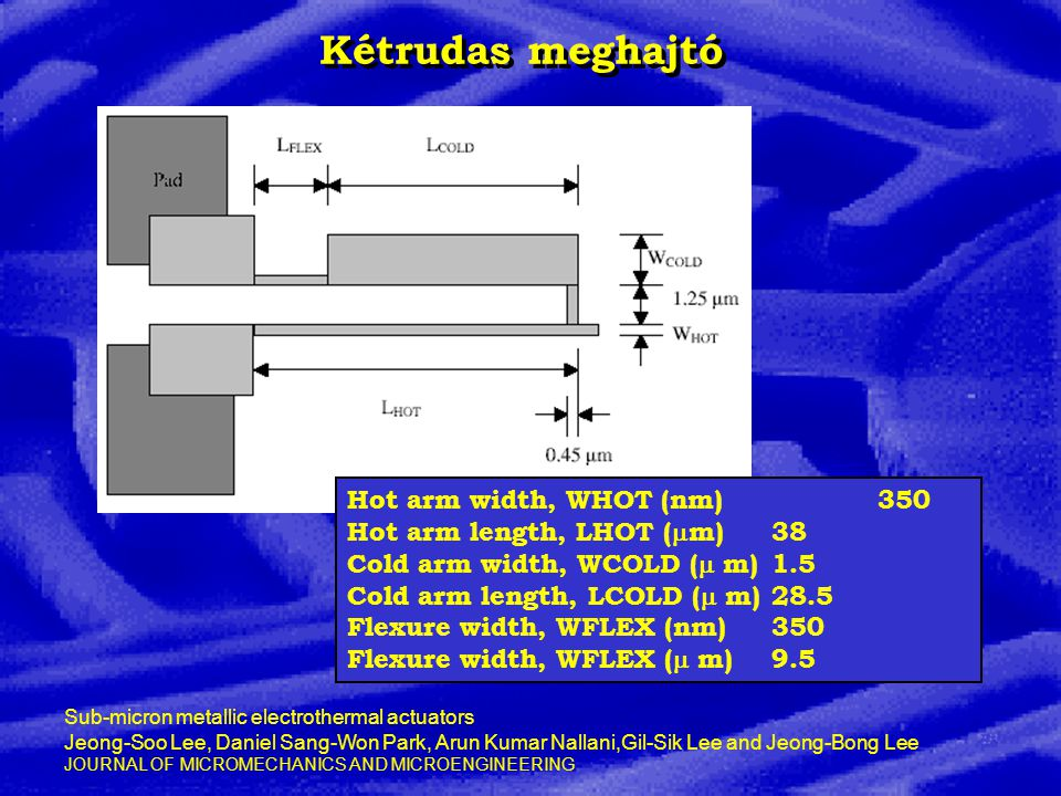 Kétrudas meghajtó Hot arm width, WHOT (nm) 350 Hot arm length, LHOT (  m) 38 Cold arm width, WCOLD (  m) 1.5 Cold arm length, LCOLD (  m) 28.5 Flexure width, WFLEX (nm) 350 Flexure width, WFLEX (  m) 9.5 Sub-micron metallic electrothermal actuators Jeong-Soo Lee, Daniel Sang-Won Park, Arun Kumar Nallani,Gil-Sik Lee and Jeong-Bong Lee JOURNAL OF MICROMECHANICS AND MICROENGINEERING